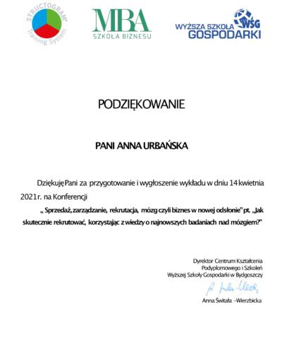 podziękowanie za udział w konferencji Ania Urbańska