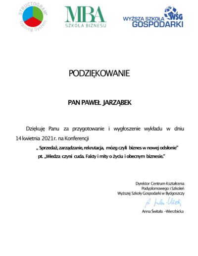 podziękowanie za udział w konferencji Paweł Jarząbek